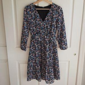 J Crew Paisley Floral Ruffle Hem Dress Size 00